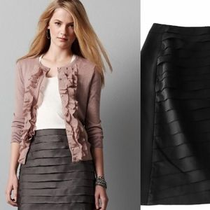 ANN TAYLOR Shutter Pleated 100% Silk Pencil Skirt